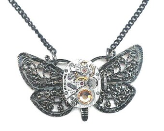 SALE, Working Movement Golden Topez Crystal Butterfly Steampunk Necklace