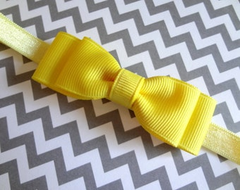 Yellow Bow Headband / Yellow Baby Bow Headband / Easter Headband / Baby Hair Accessories / Girls Hair Accessories / Newborn Headband/ Yellow