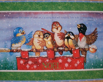 An Adoable Holiday Birds Singing Noel Christmas Cotton Fabric Panel Free US Shipping