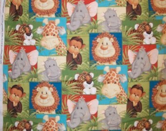 A Wonderful Patty Reed Jungle Babies Patchwork Green Cotton Fabric By The Yard Free US shipping