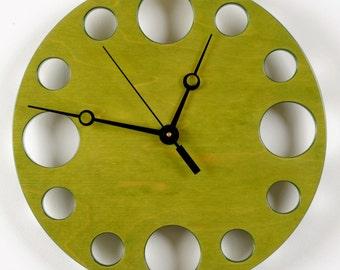 "POP Clock in Green, 10"" Modern Wall Clock"