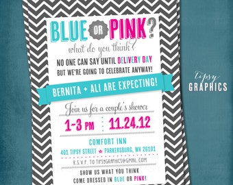 Blue or Pink. What do you think. Chevron Delivery Day Surprise. Baby Shower Invitation.  Any text and colors by Tipsy Graphics