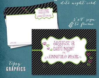 Date Night Suggestion. Printable Mini Cards by Tipsy Graphics. Any colors. Bridal Shower. Wedding Shower. Engagement Party Game