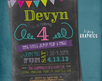 Chalkboard Bounce Birthday Invitation. Tumble, Jump Flip & More. Trampoline. Bouncy House. Little Gym Invite by Tipsy Graphics