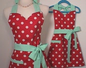 Mother-Daughter Apron Set Mint Green-Red Polka Dot Mommy and Me Matching fully lined Made to Order