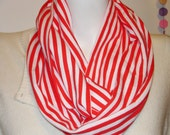 Knit Infinity Scarf  Red and White Stripe