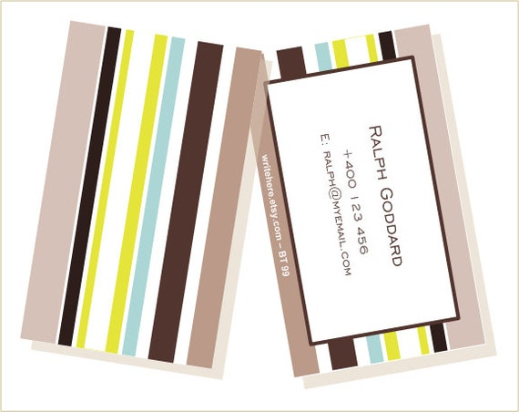 Personalized Luggage Tags Stripes brown lime green blue beige Set of 2.