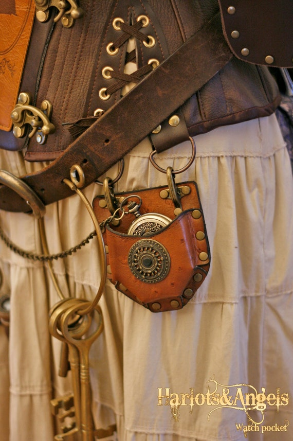 Steampunk Real Leather Watch/compass Corset Pocket Accessory