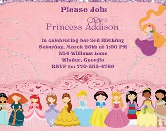 Princess Invitation Birthday-Disney Inspired12 Princesses- Digital File