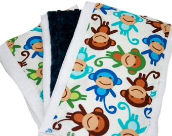 Monkey Minky Burp Clothes Set of Three