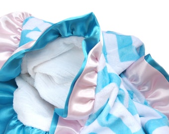 New Double Ruffle Aqua Chevron Minky Baby Blanket Pink and Aqua Ruffle
