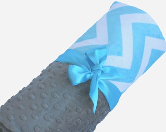 Lovey Size Aqua and White Minky Chevron Baby Blanket with Gray Dot Minky Back