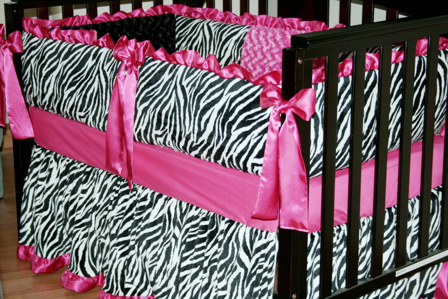 Minky Crib Bedding Set Black And White Zebra With Hot Pink