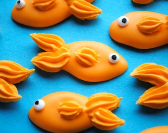 Royal Icing Goldfish- Handmade Edible Sugar Decorations (12)