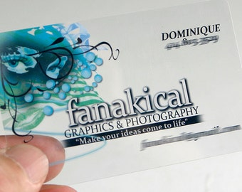 200 Business Cards - Clear transparent plastic stock - full color - free rounded corners