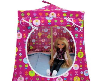 Toy Pop Up Tent, Sleeping Bags, dark pink, flower print fabric for dolls, stuffed animals