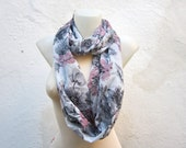 infinity scarf Loop scarf Neckwarmer Necklace scarf Fabric scarf  Grey  Pink  Black   Chiffon - nurlu