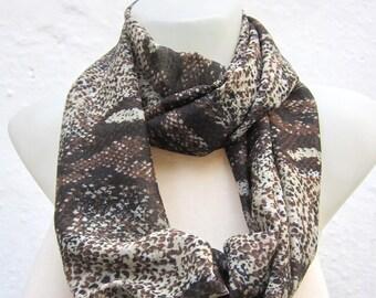 infinity scarf Loop scarf Neckwarmer Necklace scarf Fabric Chiffon scarf  brown  black  cream - Gift Ideas Women scarf mothers day