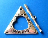 Toggle Clasp Pendant, Focal Clasp, Triangle Heart Pendant or Clasp, Pewter Findings Craft Supplies Jewelry making Beads, Clasp Findings  (1)