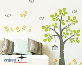 Garden Tree Flowers Birds Kids Nursery ----Removable Graphic wall decals stickers home decor