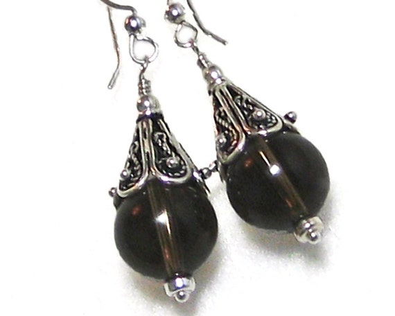 Smoky Quartz and Bali Sterling Silver Earrings
