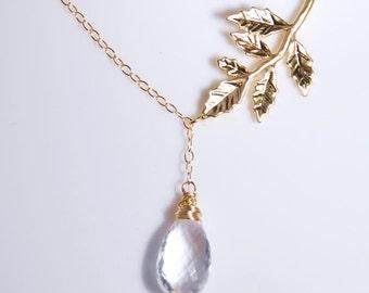April birthday necklace, April birthstone, crystal quartz,14K gold filled necklace, gemstone, personalized necklacepersonalized jewelry