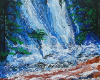 Falls in the Forest 8 x 10 Signed Are Print -Nature, Waterfall Art, Rapids, Woods, Stream, Rain Forest, Palette Knife Texture, Cascading