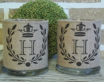 Personalized French Crown/Wreath Burlap Candle Holder Set