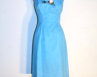 Vintage 50s Party Dress - 1950s Cocktail Dress - Pool Blue with Pink Rose