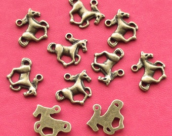SALE, 10 HORSE Charms, antique bronze tone, UK Seller, reduced, was 1.45, now only 1 pound while stocks last