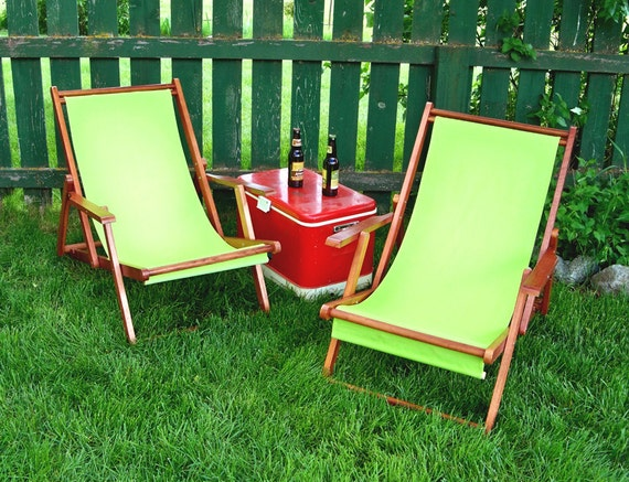Two Lime Green Folding Sling Lawn Chairs