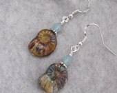 Snail Bead Dangle Earrings, Beaded Earrings