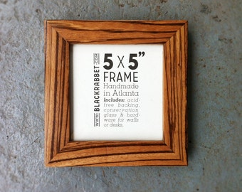 Exotic African Zebrawood Natural Finish Picture Frame (5x5)
