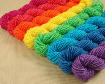 Mini Skeins Rainbow - Set of 8 - Hand Dyed Fingering Sock Weight Yarn - 100% Superwash Merino Wool