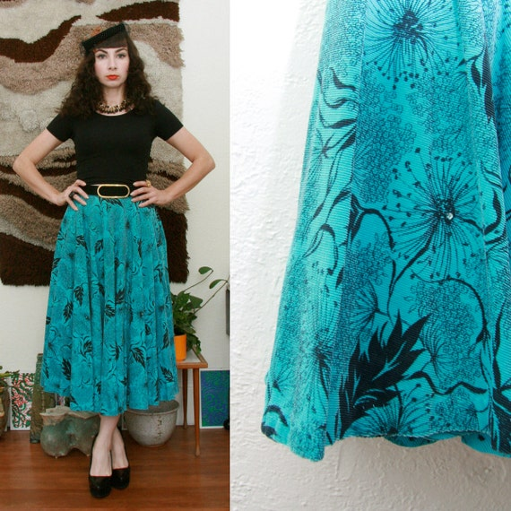 Vintage 50s 60s Turquoise Coduroy Floral Print Circle Skirt Small