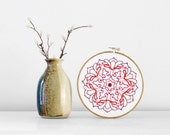 CLEARANCE 50% Off SALE: Red Embroidered Mandala with Burgundy, Maroon, and Brown - 6 Inch Embroidery Hoop Decor