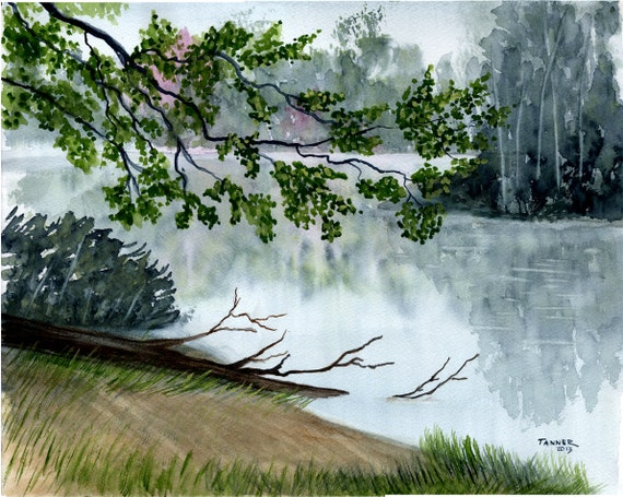 Items similar to landscape watercolor print reproduced for Painting with nature items