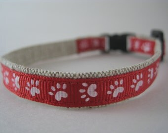"Red Paws Organic Cotton 1/2"" collar"