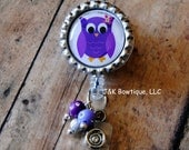 Purple Owl Badge Retractable Reel