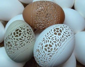 Made To Order: Hand Carved Victorian Lace Chicken Egg -  Floral Band