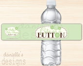 Cute as a Button - Soft Mint Green Personalized Baby Shower Waterproof Water Bottle Labels  - 35 Labels
