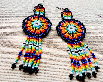 Dreamcatcher... Vintage multicolor BOHEMIAN EARRINGS