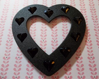 Heart Pendant - Black Lucite Connector - Large 66mm Pendant with Raised Heart Design - Qty 1