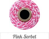Pink Sorbet - Pink and White Baker's Twine by The Twinery - 240 yard spool
