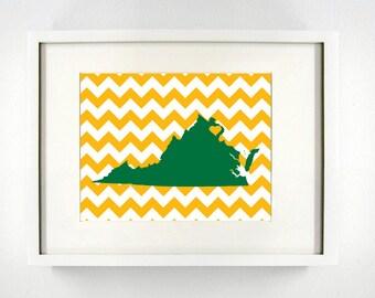 Fairfax, Virginia State University Giclée Map Art Print  - 8x10 - Graduation Gift Idea - Dorm Decor