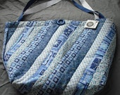Market Shopping Tote Bag Purse Quilted Cotton Blend Fabric Double Straps Button Trim Velcro Closure Lined Grocery Recycle Shopping Reuse