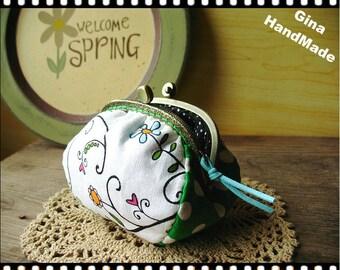Green  Metal frame purse/coin purse / Coin Wallet /Pouch / Kiss lock frame bag-GinaHandMade