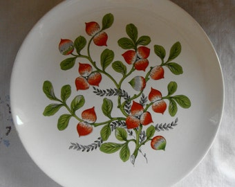 MID CENTURY Plate Preview by Paden Bone Ash Glaze Radishes 1960s USA Pottery Ceramics Plate Radish Patch Plate