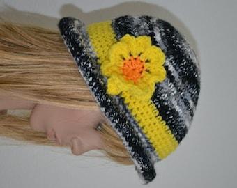 Black & White Tweed Crusher Hat