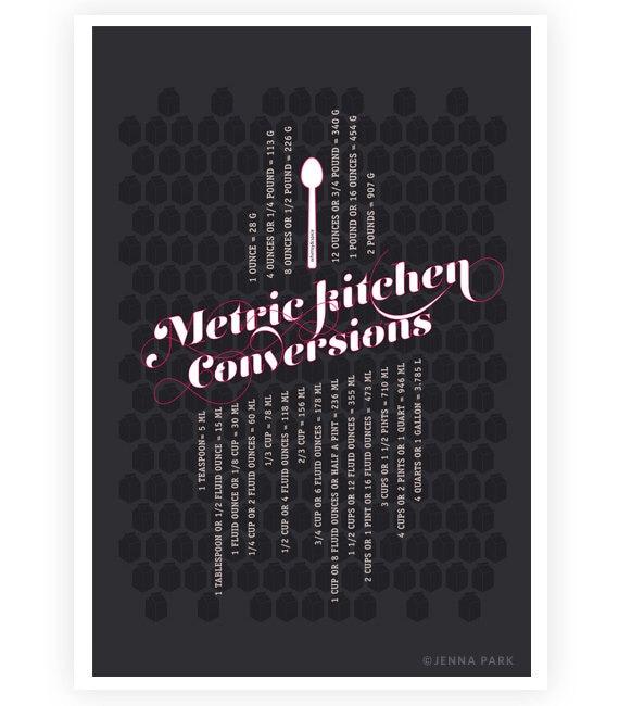 Kitchen Metric Conversions Art Poster, Dark Gray 13x19 - Kitchen Art - Kitchen Posters - Kitchen Measurements
